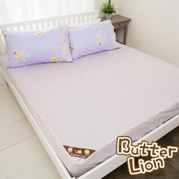 【奶油獅】素雅葉語系列-台灣製造-100%精梳純棉床包二件組(幻紫)-單人3.5尺