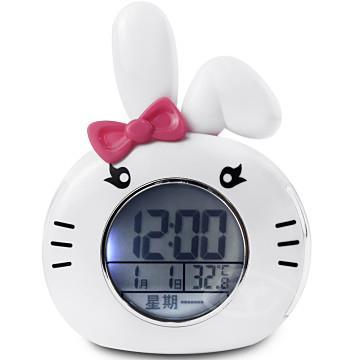 【CATIGA】動物樂園-LED背光夜燈語音鬧鐘-小白兔