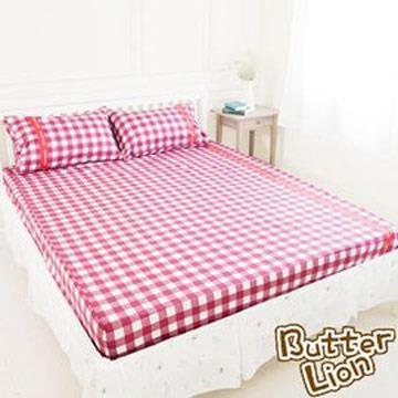 【奶油獅】格紋系列-台灣製造-100%精梳純棉床包三件組(紅)-雙人加大6尺