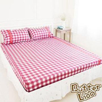 【奶油獅】格紋系列-台灣製造-100%精梳純棉床包三件組(紅)-雙人特大7尺