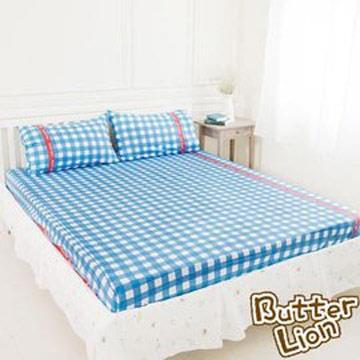 【奶油獅】格紋系列-台灣製造-100%精梳純棉床包三件組(藍)-雙人特大7尺