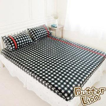 【奶油獅】格紋系列-台灣製造-100%精梳純棉床包三件組(黑)-雙人特大7尺