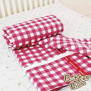 【奶油獅】格紋系列-台灣製造-100%精梳純棉雙面薄被套(紅)-單人