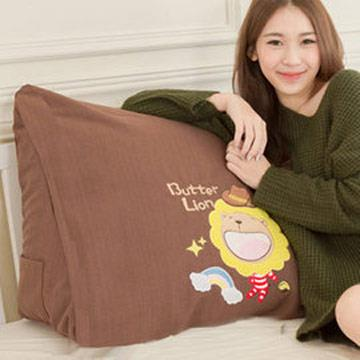 【奶油獅】正版授權-100%台灣製造 加厚精緻貼布鏽 彩虹牛仔布套可拆三角靠墊/美腿枕(一入)