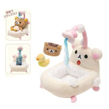 Rilakkuma拉拉熊縮版浴缸造型毛絨手機座。懶妹