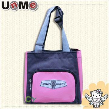 【UnMe機器人】造型輕巧餐袋/桃粉紅