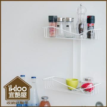 【ikloo】TACO無痕吸盤系列-多功能雙層置物籃
