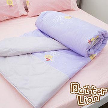 【奶油獅】怡情葉語系列-台灣製造-100%精梳純棉涼被5**6尺(幻紫)