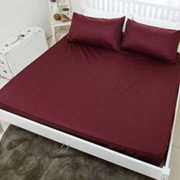 【米夢家居】台灣製造-100%精梳純棉雙人床包三件組(大地-紅)