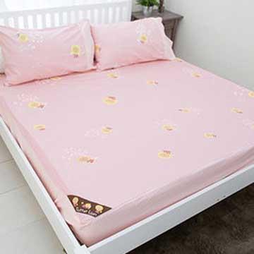 【奶油獅】怡情葉語系列-台灣製造-100%精梳純棉床包三件組(粉紅)-雙人5尺