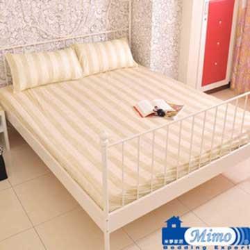 【米夢家居】時尚條紋100%精梳絲光純棉斜紋布床包三件組-雙人加大6尺