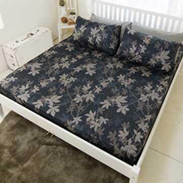 【米夢家居】台灣製造-100%精梳純棉雙人加大床包三件組(深秋黑葉)