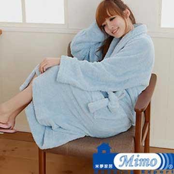 【米夢家居】 台灣製造水乾乾SUMEASY開纖吸水紗-柔膚浴袍(淺藍)