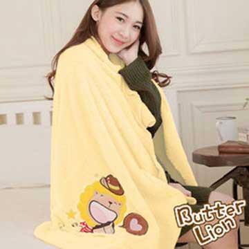 奶油獅 台灣製造 開纖紗柔膚吸水/保暖浴巾毯-星星牛仔(暖黃)