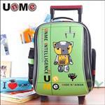 【UnMe機器人】高年級閃亮拉桿後背書包/草地綠