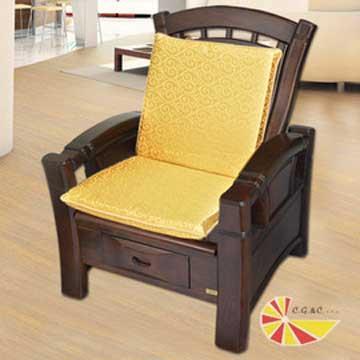 【凱蕾絲帝】木椅通~高支撐加厚連體L型坐墊(1入)-富貴金
