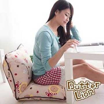 【奶油獅】正版授權 台灣製造-和室房必購-可拆洗搖滾星星胖胖和室椅-米色