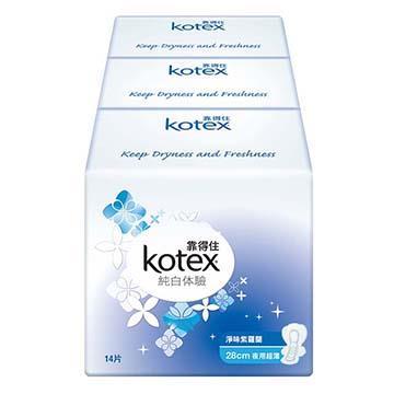 【靠得住】純白体驗淨味紫羅蘭夜用超薄衛生棉28cm(14片x8包/箱)