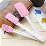 蛋糕烘培粉色矽膠刮刀刷具3件組