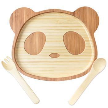 【la-boos】純天然竹製兒童餐具-可愛熊貓