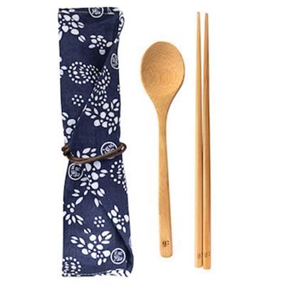 【la-boos】隨行餐具組-日本藍