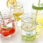 清新自然英文字母透明玻璃吸管星沙瓶/水杯/梅森瓶(隨機出貨)