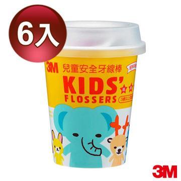 3M 超細滑兒童安全牙線棒 55支 (杯裝) 6入