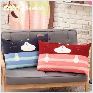 Le Baobab安心睡眠條紋情侶貓咪枕頭套1入(藍)