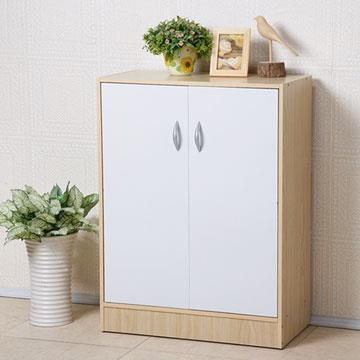 YoStyle 簡約二門收納鞋櫃-胡桃色/楓木+白