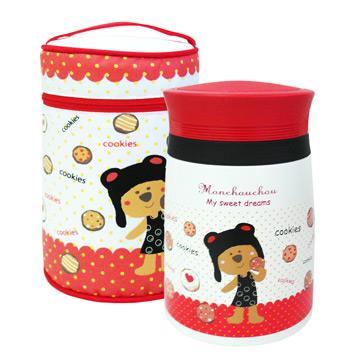 法國浣熊寶貝真空悶燒食物罐-750ml-紅色