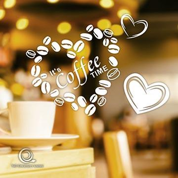 Christine咖啡時光貼 / 店面、公共場所櫥窗佈置 / 防水貼紙 CFT001甜心豆豆
