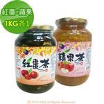 《韓廣》韓國蜂蜜紅棗茶+蘋果茶(1kg)(各1入)