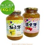《韓廣》韓國蜂蜜生柚子茶+蘋果茶(1kg)(各1入)