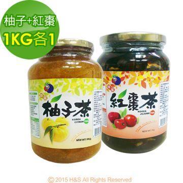 《韓廣》韓國蜂蜜柚子茶+紅棗茶(1kg)(各1入)