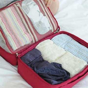 DINIWELL 新版手提衣物旅行整理收納包-M號(紅色)