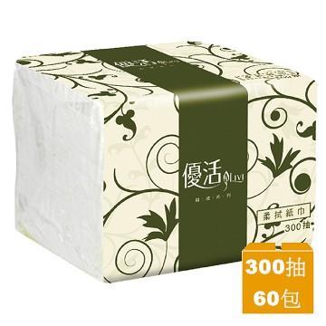 優活 單抽式柔拭紙巾300抽x60包