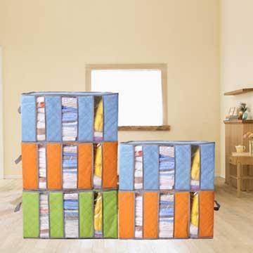 2色環保竹炭纖維收納箱(超值2入)-隨機出貨