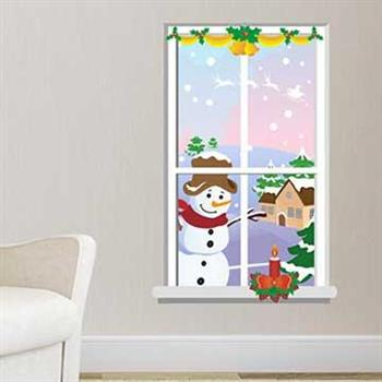 Christine聖誕節慶佈置/壁貼 玻璃貼/MB022 窗外雪人