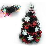 台灣製迷你1呎/1尺(30cm)雪花紅果裝飾黑色聖誕樹+20燈樹燈串(鎢絲插電式)