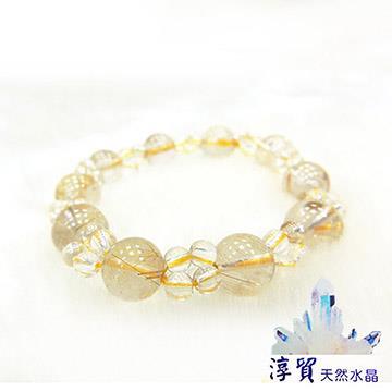 淳貿天然水晶 招財鈦晶金髮晶+白水晶手珠9mm(B01-35)