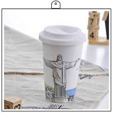 《Bella House》我不是紙杯~ 城市風情系列 雙層陶瓷杯_巴西 里約熱內盧救世主耶穌雕像