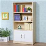 YoStyle 清新森林雙門三格書櫃-楓木+白色