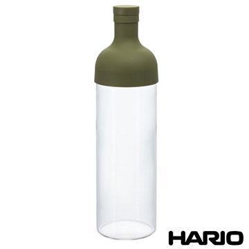 日本製造HARIO 酒瓶型玻璃冷泡茶壺750ML紅綠隨機(內附茶網)HAR-FIB75
