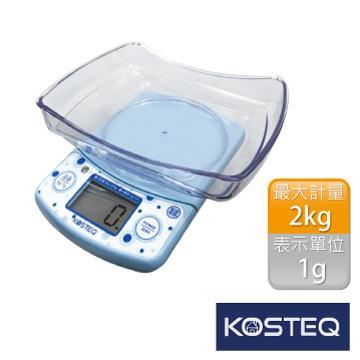 【KOSTEQ】福爾摩莎多功能附盆廚房料理電子秤-藍(2kg)