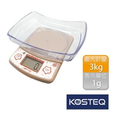 【KOSTEQ】福爾摩莎多功能附盆廚房料理電子秤-咖啡(3kg)