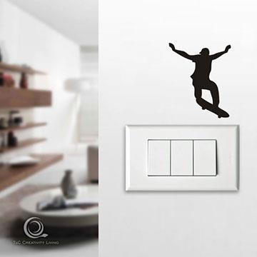Christine趣味開關貼/牆貼/居家佈置小物 滑板小子OP023