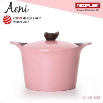 韓國NEOFLAM Aeni系列 26cm陶瓷不沾深湯鍋+陶瓷塗層鍋蓋-粉紅色 EK-AD-D26