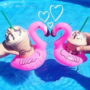 紅鶴火烈鳥泳圈造型充氣水上杯墊/飲料座