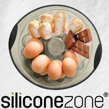 【Siliconezone】施理康耐熱矽膠戚風造型蛋糕模(灰/黑)
