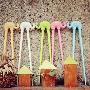 【Cornflower玉米花】快樂森林玉米餐具-小象學習筷-5入 -棉花白